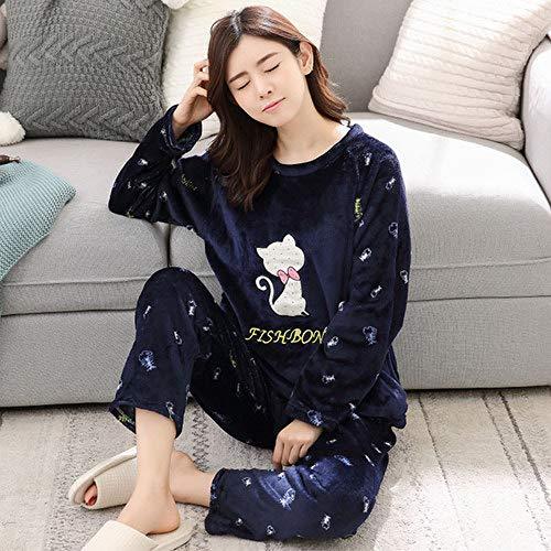 Dibujos El Dormir Niña Las Animados De mao Invierno Ocio Caliente Hogar Mujer Jylw Ropa Conjunto Yex Mujeres Para Pijamas Yu Franela wYFzOtxS
