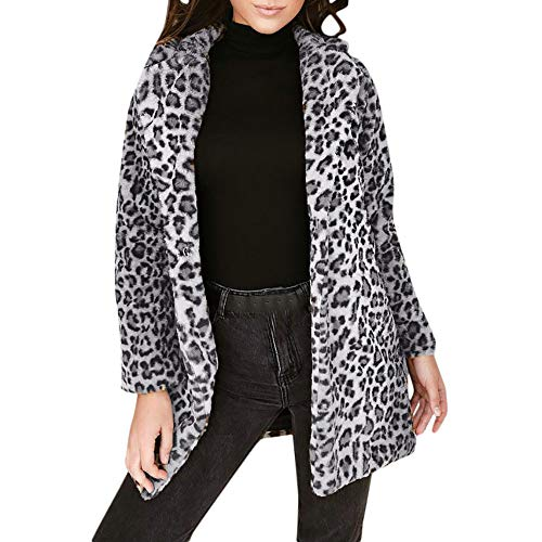 TOTOD Women Faux Fur Parka Jackets Coat Sexy Leopard Print Button Warm Fleece Fluffy Long Outerwear Pockets (Gray, X-Large) (Cubs Chicago Gray Shirt)