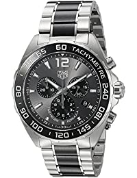 Mens Formula 1 Swiss Quartz Stainless Steel Dress Watch, Color:Silver-
