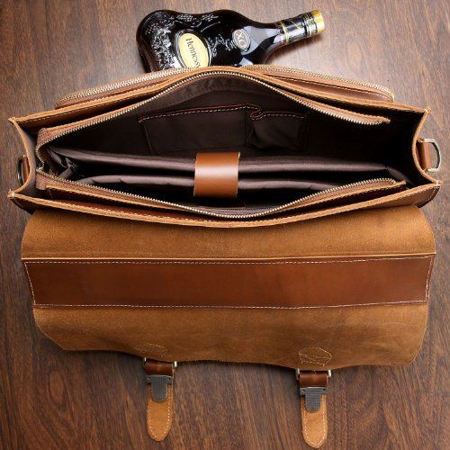 BAIGIO Office 15.6'' Laptop Briefcase Men Leather Business Shoulder Messenger Bag (Red Brown) by BAIGIO (Image #3)