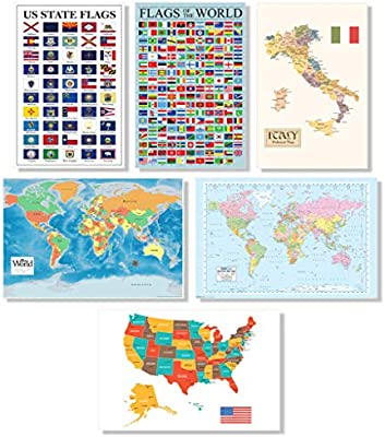 Amazon.com: Map Set of 6 USA and World Maps Europe US ...