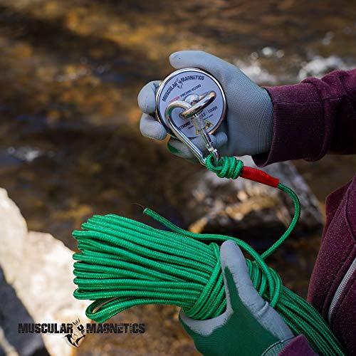 283kg Non-Slip Rubber Gloves 625lb Fishing Magnet Bundle Pack Threadlocker /& Super Strong 625lb Includes 6mm 100ft High Strength Nylon Rope with Carabiner Pulling Force Rare-Earth Magnet