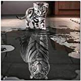 21secret 5D Diamond Cats Tiger Reflection Animal Handmade Square Diy Painting Cross Stitch Home Decor Embroidery Kit