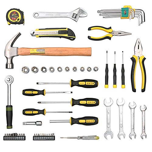 DOWELL 60 Pieces Homeowner Tool Set , Home Repair Hand Tool Kit with Plastic Tool box Storage Case