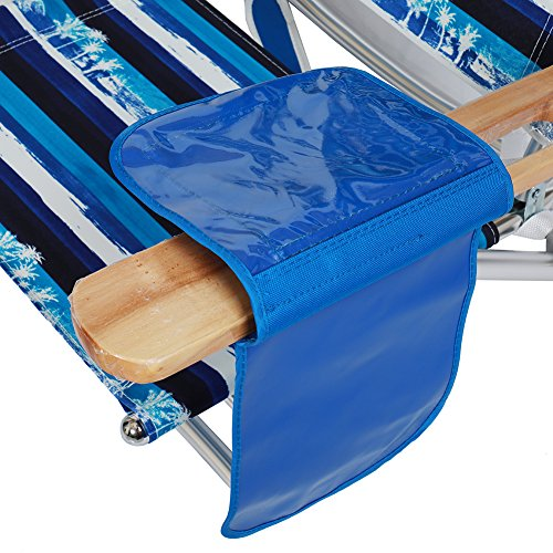 690GRAND Best Folding Beach Chair 5 Position Lay Flat Reclining with Extra Wide Seating Area Cup Holder and Storage Pouch Lightweight Aluminum Frame for Camping Hiking by 690GRAND (Image #7)