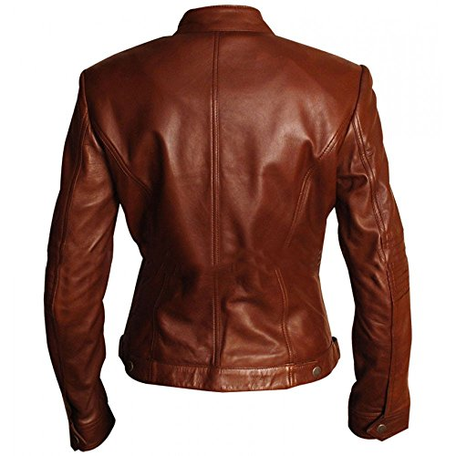 Body Women Slim Leather Brown Fitted Fit Biker Jacket CqxwtxOU