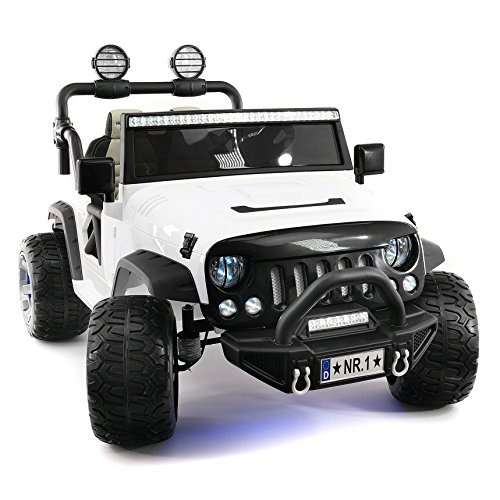 Kids Toys Music Player - Explorer 2 (Two) Seater 12V Power Kids Ride-On Car Truck with R/C Parental Remote + EVA Rubber LED Wheels + Leather Seat + MP3 Music Player Bluetooth FM Radio + LED Lights (White)
