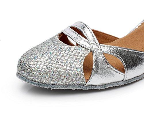 Tango Salsa EU40 JSHOE Shoes UK6 5 Tea Heels Our41 Jazz High Round Sequins Dance Latin heeled6cm Toe Women's Samba Modern Sandals Shoes Silver 08qw0Cf
