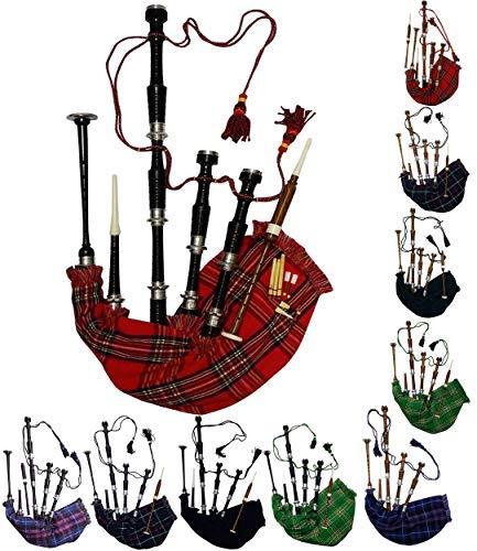 AAR Scottish Bagpipe Rosewood Royal Stewart Tartan Black Finish with Silver Plain Mounts Free Tutor Book, Carrying Bag, Drone, Reeds