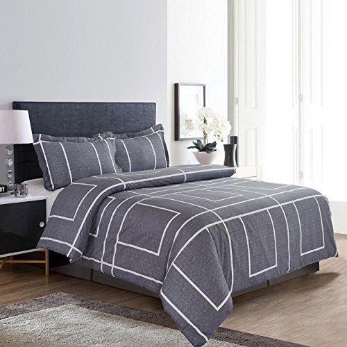 , 100% Cotton Bedding, White Grid Plaid Simple Modern Pattern Printed on Grey, with Zipper Closure (3pcs, King Size) (Printed Cotton Duvet Set)