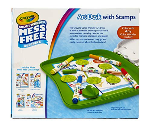 Crayola Color Wonder Mess Free Art Desk with Stamps, 20+ Pieces, Kids Toys