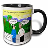 3dRose Londons Times Funny Russian and Armenian Cartoons - Tired Old Amenian Cliches - 11oz Two-Tone Black Mug (mug_2834_4)