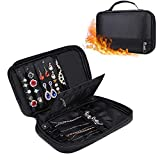 ENGPOW Travel Jewelry Organizer Safe Fireproof & Water Resistant Carrying Jewelry Pouch Big Case for Gold Rings Bead Earrings Necklace Bracelet Watch Storage Black
