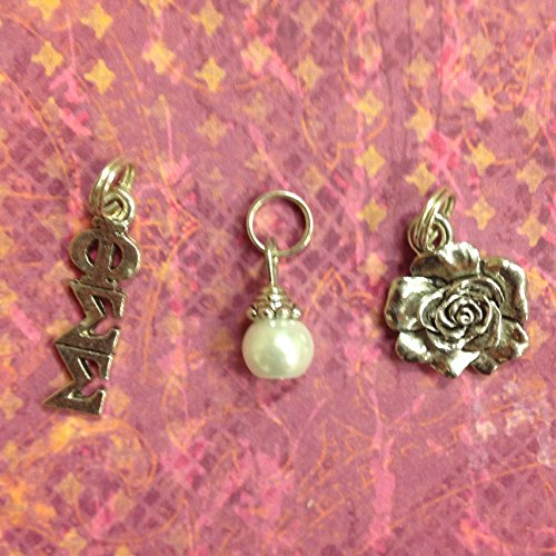 Sorority Greek Phi Sigma Sigma Essential Trio of Charms - lavaliere, rose mascot, white glass pearl dangle - Phi Sigma Glass