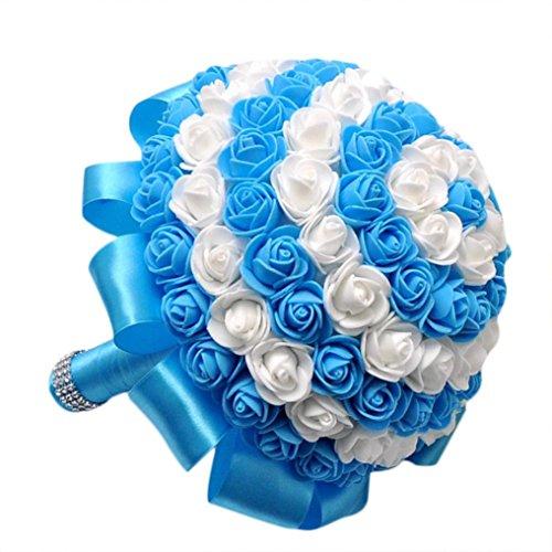 Transer Crystal Roses Bridesmaid Wedding Bouquet Bridal Artificial Silk Flowers (Blue)