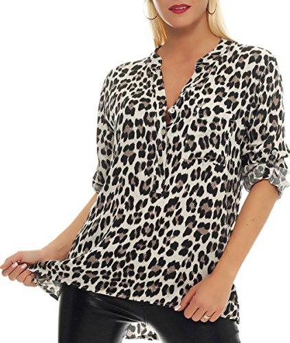 51LwqUJnlJL - Malito Damen Bluse mit Leo Muster | Tunika mit ¾ Armen | Longsleeve mit Animal Print | Elegant - Oversize - Shirt 6702