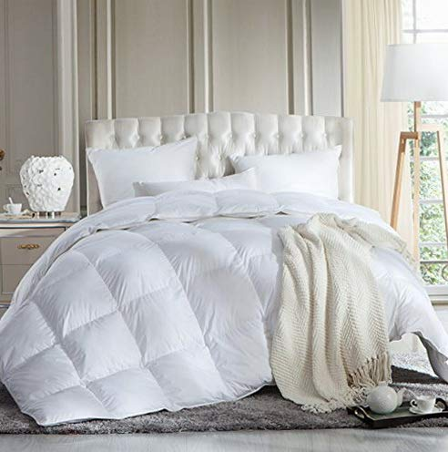 Hemau Luxurious Full/Queen Size Siberian Goose Down Comforter, Duvet Insert, 1200 Thread Count 100% Egyptian Cotton, 750+ Fill Power, 60 oz Fill Weight, 1200TC, White Solid | Style 503193471