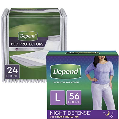 Depend Nighttime Protection Package: Night Defense Incontinence Underwear for Women (Size L, Blush, Overnight Absorbency, 56ct) & Overnight Bed Pads/Underpads (Disposable, 24ct)