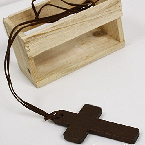 - Christian Ancient Sweater Chains Brown Wooden Jewelry Necklace Cross Pendant
