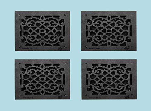 Register Black Aluminum Heat Register Cast Aluminum W/Logo RSF Black by Renovator's Supply (Image #1)