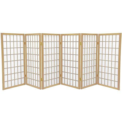 Oriental Furniture 3 ft. Tall Window Pane Shoji Screen - Natural - 6 Panels