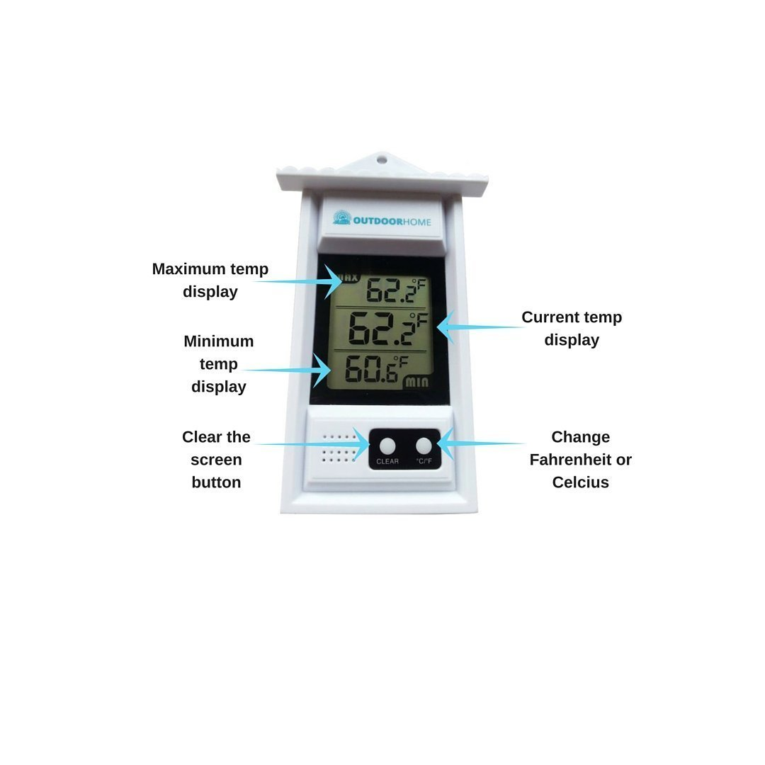 Digital Min Max Thermometer by Outdoor Home. Perfect for Garden, Patio or Greenhouse. Accurate Weather Thermometer with Current Temp & Auto Sensor for Min Max Readings Use Indoors Or Outdoors. by OutdoorHome (Image #3)