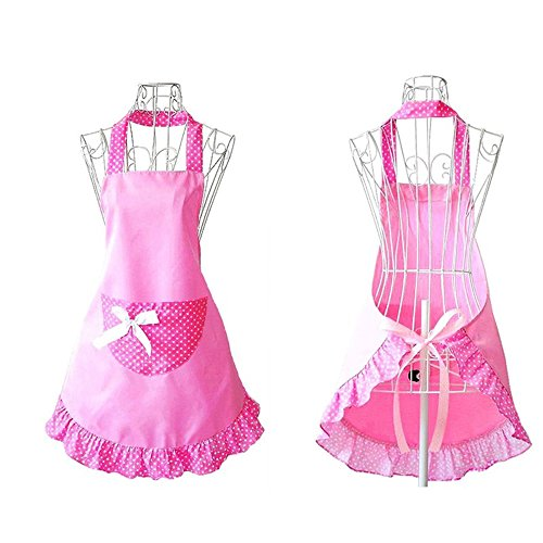 HANERDUN Pastoral Style Ladies Apron Dress Girls Cute Polka Dot Apron with Pocket Fashion Vintage Kitchen Apron for Women Lovely Retro Cooking Apron for Housewife Gift Idea