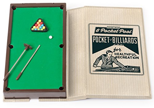 Mini Pocket Book Pool Game - Best of Fun Travel Tabletop Miniature Games Toys for Kids Children Boys Girls Adults Family - Player Brain Challenge - Outdoor Indoor Office - Birthday Party Favor (Pool Table Top Game Mini)