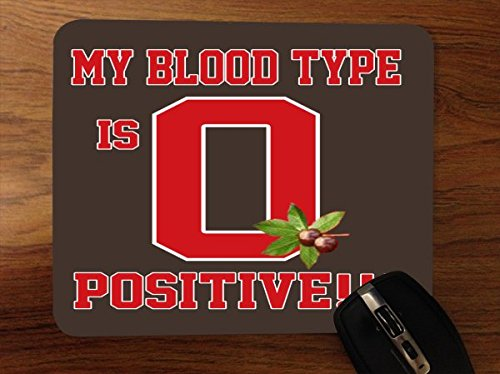 My Blood Type is O Positive Buckeyes Desktop Office Silicone Mouse Pad by Debbie's Designs by Debbie's Designs