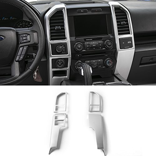 Voodonala Silver Central Control Covers Frame Accessories Trim for Ford F150 2015 2016 2017