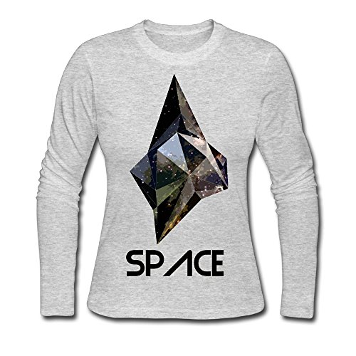 Space Low Poly Women Casual T-Shirt Crew Neck Long Sleeve T Shirt (Dresses Plus Theme Size Space)