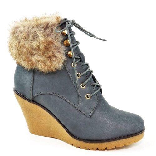 Bequeme Damen Stiefeletten Keilabsatz Wedges Ankle Boots Kurzschaft Schnürstiefel Q93 Grau