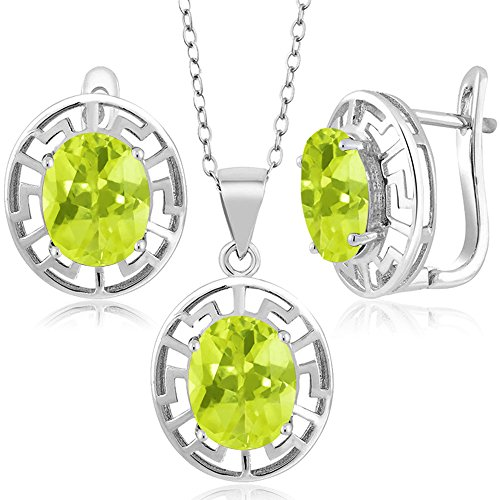 Lemon Sterling Quartz Ring Silver - Gem Stone King 6.00 Ct Yellow Lemon Quartz 925 Sterling Silver Pendant Earrings Set With Chain