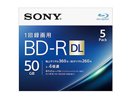 Sony 4X BD-R DL 5 pack 50GB White Printable 5BNR2VJPS4