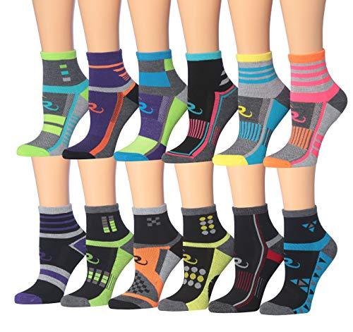 (Ronnox Women's 12-Pairs Running & Athletic Sports Performance Ankle/Quarter Socks (RQ12-AB-SM))