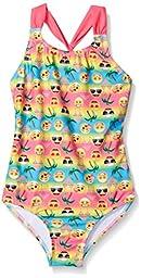 Freestyle Big Girls\' SO Cool Emoji One Piece Swimsuit, Multi, 16