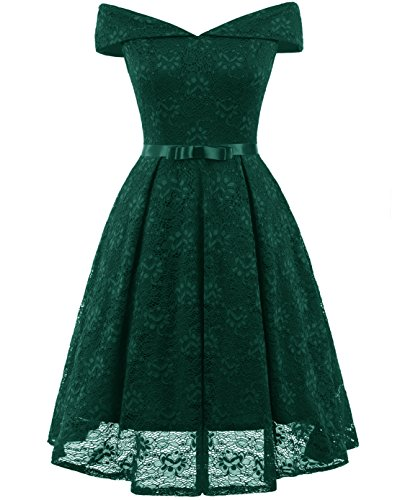 194930a09ba ... Lace Cocktail Party Dress 1950 s Style Swing Dress Emerald Green  Medium.   