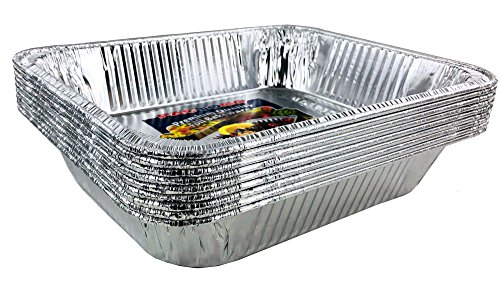Aluminum Foil Pans - Half-Size Deep Disposable Steam Table Pans for Baking, Roasting, Broiling, Cooking, 12.75 x 10.25 x 2.56 - Heavy Duty Made in USA (Pack of 30) by PACTOGO