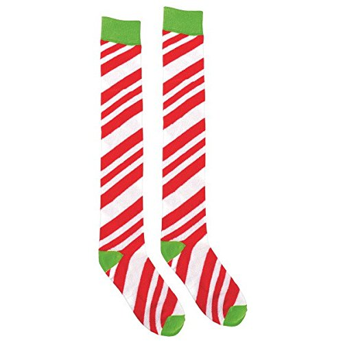 Zoom Sock (Fun-Filled Christmas and Holiday Party Candy Stripe Over-The-Knee Socks , 18
