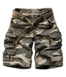 FOURSTEEDS Women's Cotton Loose Fit Multi-Pockets Camouflage Casual Twill Bermuda Cargo Shorts with Belt Dark Camo US 14