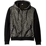 Southpole Men's Hooded Full Zip Fleece in Colors with Solid Sleeves, Marled Black, X-Large