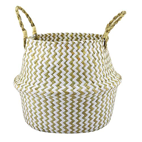 Lewondr Natural Seagrass Belly Basket, Round 31cm Collapsible Handmade Indoor Plant Pot Planter Floral Texture Weave Tote Basket with Handle for Storage Laundry Home Picnic - White ()