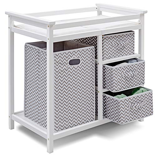 (Costzon Baby Changing Table, Infant Diaper Changing Table Organization, Diaper Storage Nursery Station with Hamper and 3 Baskets (White+Gray))