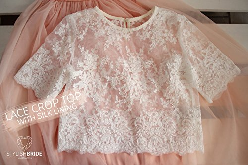 Belle Wedding Lace Crop Top White Lace Crop Top Tops Sleeveless Vest Tank Camisole Wedding Silk Bridesmaids White Crop Top Silk Lace Top