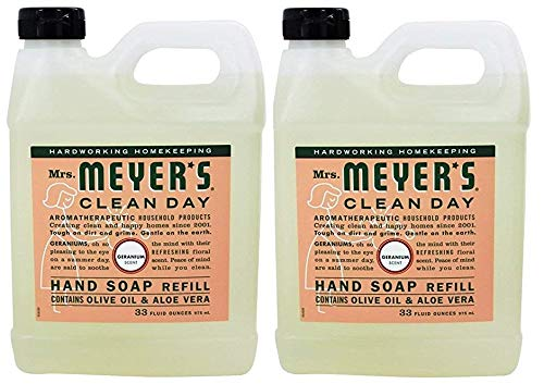 Mrs. Meyer's Clean Day Liquid Hand Soap Refill, 33 oz, Geranium, (Pack - 2)