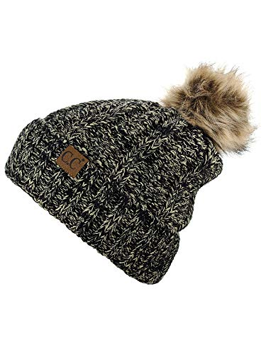 a6242650503 C.C Thick Cable Knit Faux Fuzzy Fur Pom Fleece Lined Skull Cap Cuff Beanie