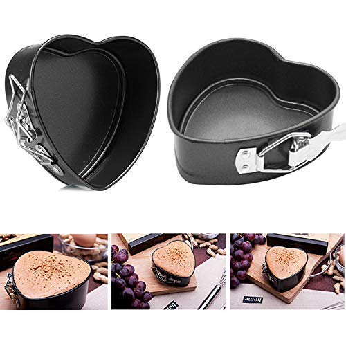 StyleZ 2PACK Nonstick Heart-Shaped Cake Springform Pan 4 inch Leakproof CheeseCake Pan with Removable Bottom DIY Cake Bakeware at Home, Great Valentine's Day Gifts Great Valentine' s Day Gifts