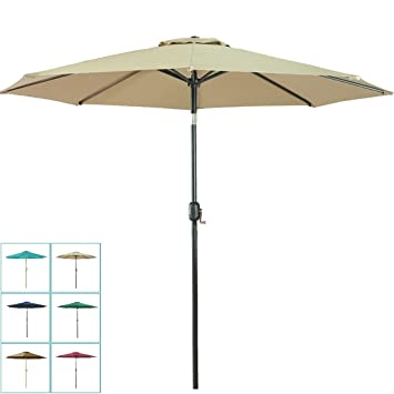 Balichun 9 Ft Aluminum Patio Umbrella Outdoor Table Market Umbrellas With  Push Button Tilt And Crank