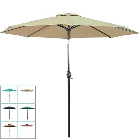 Great Balichun 9 Ft Aluminum Patio Umbrella Outdoor Table Market Umbrellas With  Push Button Tilt And Crank