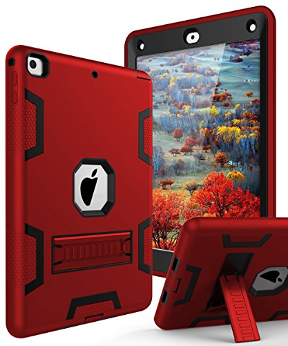 TIANLI Case for iPad 9.7 2018,Case for iPad 6th Generation Three Layer Heavy Duty Shockproof Protective Hybrid High Impact Resistant Cover with Kickstand for iPad 2017/2018,Red - Red Apple Ipad Case